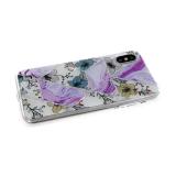 Силиконовый чехол Samsung Galaxy A20 геометрические фигуры, пр. борт, с рис. цветов, фиолетовый