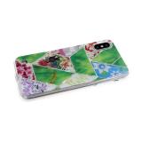 Силиконовый чехол Samsung Galaxy A20 геометрические фигуры, пр. борт, с рис. цветов, зеленый
