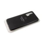 Силиконовый чехол матовый с логотипом для Samsung Galaxy A51, черный
