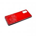 Задняя крышка Samsung Galaxy A51 однотонный с блестками, черный борт, красный