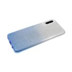 Силиконовый чехол Samsung Galaxy A51 плотный с блестками и переходом, голубой