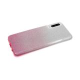 Силиконовый чехол Xiaomi Redmi Note 8 плотный с блестками и переходом, розовый
