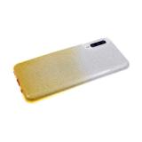 Силиконовый чехол Xiaomi Redmi Note 8 плотный с блестками и переходом, желтый