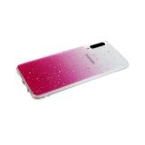Силиконовый чехол Xiaomi Redmi Note 9 Pro прозрачный с кусочками серебряной фольги, розовый