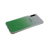 Силиконовый чехол Samsung Galaxy A51 прозрачный с переходом и фольгой, зеленый