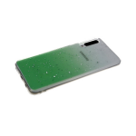 Силиконовый чехол Xiaomi Redmi Note 9 Pro прозрачный с кусочками серебряной фольги, салатовый