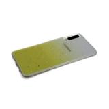 Силиконовый чехол Xiaomi Redmi Note 9 Pro прозрачный с кусочками серебряной фольги, желтый