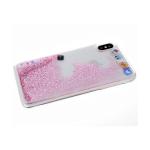Задняя крышка Samsung Galaxy A51 соц. сети с жидкими блестками, розовые