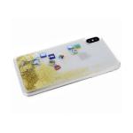 Задняя крышка Samsung Galaxy A51 соц. сети с жидкими блестками, золотые