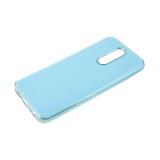 Силиконовый чехол Xiaomi Redmi Note 8 утолщенный, глянцевый без лого, блестящий борт, голубой