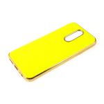 Силиконовый чехол Xiaomi Redmi 8a утолщенный, глянцевый без лого, блестящий борт, кислотно-желтый