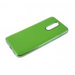 Силиконовый чехол Xiaomi Redmi 8a утолщенный, глянцевый без лого, блестящий борт, салатовый