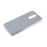 Силиконовый чехол Xiaomi Redmi Note 8 утолщенный, глянцевый без лого, блестящий борт, серо-сиреневый