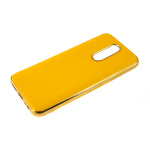 Силиконовый чехол Xiaomi Redmi Note 8 утолщенный, глянцевый без лого, блестящий борт, желтый