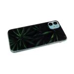 Задняя крышка Samsung Galaxy M21 антишок углы, силиконовый борт, винил, листья