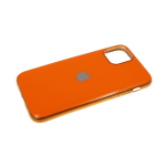 Силиконовый чехол Iphone 11 Pro глянцевый, блестящий борт с логотипом, оранжевый