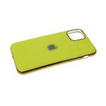Силиконовый чехол Iphone 11 Pro глянцевый, блестящий борт с логотипом, салатовый