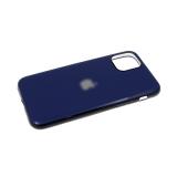 Силиконовый чехол Samsung Galaxy A20s глянцевый, блестящий борт без лого., темно-синий