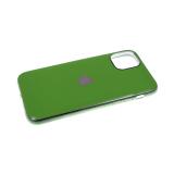 Силиконовый чехол Samsung Galaxy A20 глянцевый, блестящий борт без лого., зеленый