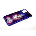 Задняя крышка Samsung Galaxy A20s глянцевый рисунок, синий борт, девушка в очках