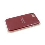 Силиконовый чехол Iphone 11 Pro Max Silicone Leather Case с логотипом, в блистере, бордовый