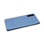 Силиконовый чехол Samsung Galaxy A10 леопардовый принт хамелеон, прозрачный борт, голубой