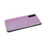 Силиконовый чехол Samsung Galaxy A10 леопардовый принт хамелеон, прозрачный борт, розовый