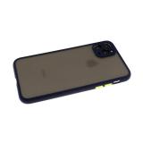 Задняя крышка Samsung Galaxy M21 матово-прозрачная, цв. кнопки с силиконовым бортом, темно-синяя