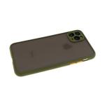 Задняя крышка Samsung Galaxy M21 матово-прозрачная, цв. кнопки с силиконовым бортом, темно-зел