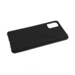 Силиконовый чехол Xiaomi Redmi Note 9 Pro под кожу, 3Д камера, черный борт, с прерыв линиями, черный
