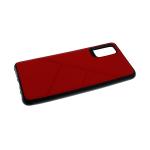 Силиконовый чехол Xiaomi Redmi Note 9 под кожу, 3Д камера, черный борт, с прерыв линиями, красный