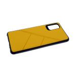 Силиконовый чехол Xiaomi Redmi Note 9 под кожу, 3Д камера, черный борт, с прерыв линиями, желтый