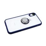 Задняя крышка Samsung Galaxy A10 прозрачная, с кольцом-держателем, силиконовый борт. синяя