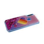 Задняя крышка Huawei Honor 10 Lite прозрач с рисунком, плав фиолетовыми блестками, лайк на розовом