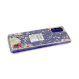 Силиконовый чехол Huawei Honor 9s прозрачный, блестки сердечки, цветы