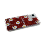 Силиконовый чехол Huawei Honor 10 Lite прозрачный Fashion ромашка, жидкие блестки, красный