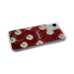 Силиконовый чехол Samsung Galaxy A10 прозрачный Fashion ромашка, жидкие блестки, красный
