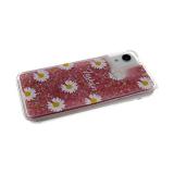 Силиконовый чехол Huawei Honor 10 Lite прозрачный Fashion ромашка, жидкие блестки, розовый