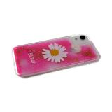 Силиконовый чехол Huawei Honor 10 Lite прозрачный Fashion ромашка, жидкие блестки, ярко-розовый