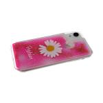 Силиконовый чехол Samsung Galaxy A10 прозрачный Fashion ромашка, жидкие блестки, ярко-розовый