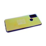 Силиконовый чехол Samsung Galaxy A21s прозр. с эффектом зеркала, переливающийся цвет, фиолетовый