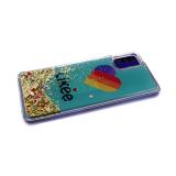 Силиконовый чехол Samsung Galaxy A21s с жидкими блестками, соц сети, Likee на зеленом