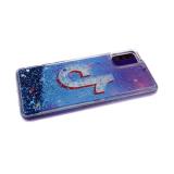 Силиконовый чехол Samsung Galaxy A21s с жидкими блестками, соц сети, Tik Tok космический