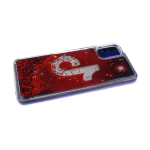 Силиконовый чехол Samsung Galaxy A41 с жидкими блестками, соц сети, Tik Tok на красном