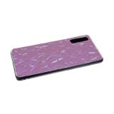 Силиконовый чехол Samsung Galaxy A10 тактильный со звездочками, прозрачный борт, розовый