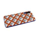 Силиконовый чехол Samsung Galaxy A01 утолщенный 3Д рисунок ромб с блестками, оранжевый