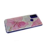 Силиконовый чехол Huawei Y5p утолщенный с летним рисунком, прозрачный борт, розовые цветы