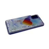 Силиконовый чехол Samsung Galaxy A51 утолщенный с жидкими блестками сердечками, Likee голубые тона