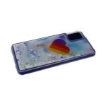 Силиконовый чехол Samsung Galaxy A50 утолщенный с жидкими блестками сердечками, Likee голубые тона