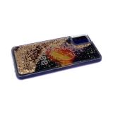Силиконовый чехол Samsung Galaxy A51 утолщенный с жидкими блестками сердечками, Likee космос